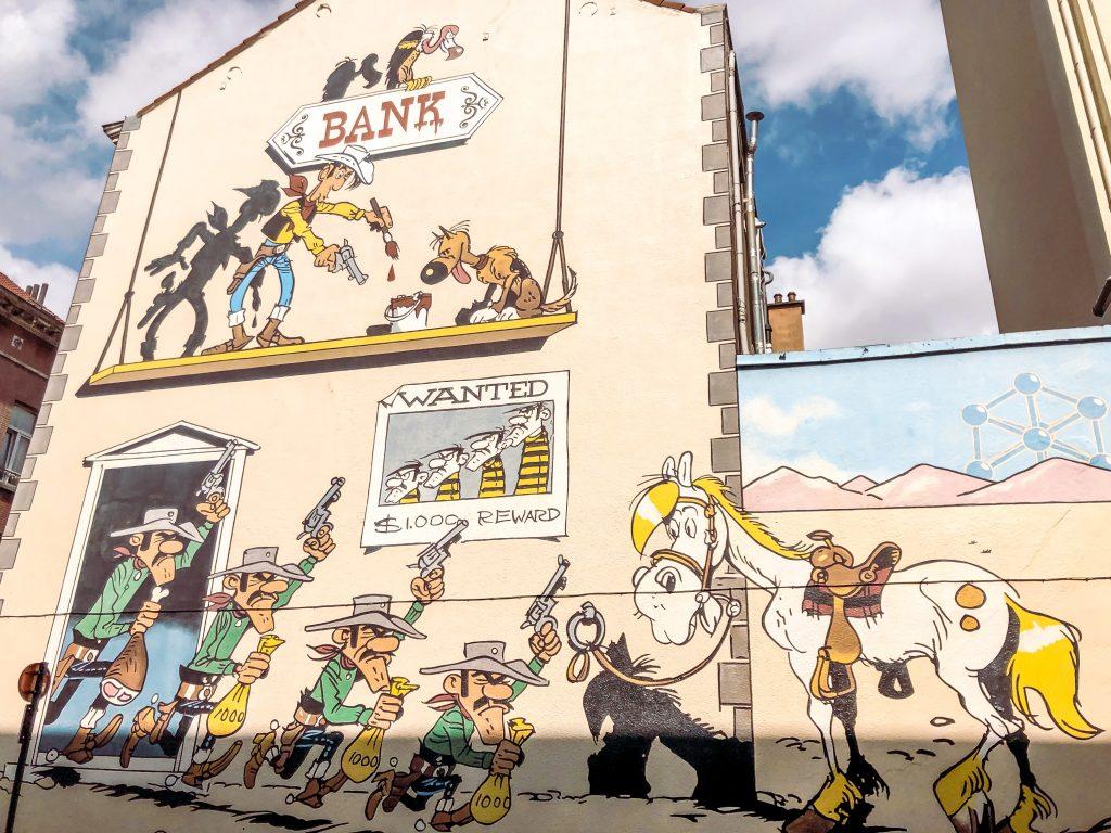 Bruxelles strada Murales Lucky Luke
