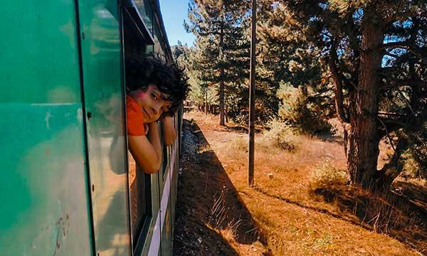 bambino affacciato a finestrin odel treno in autunno