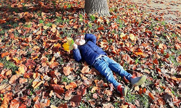 bambino tra le foglie d'autunno