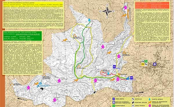 carta trekking Cascate di Diosilla e Monterano