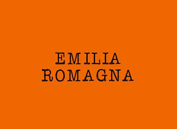 emilai romagna scritta su fondo arancione