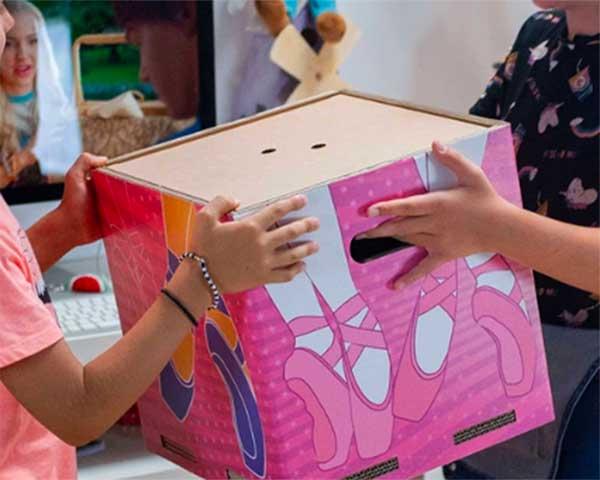 scatola porta giochi con ballerine